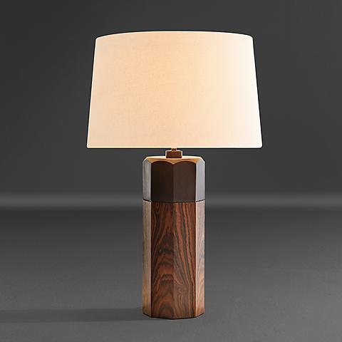 Otto Table Lamp Louro Preto Wood, Square Wood Table Lamp Base